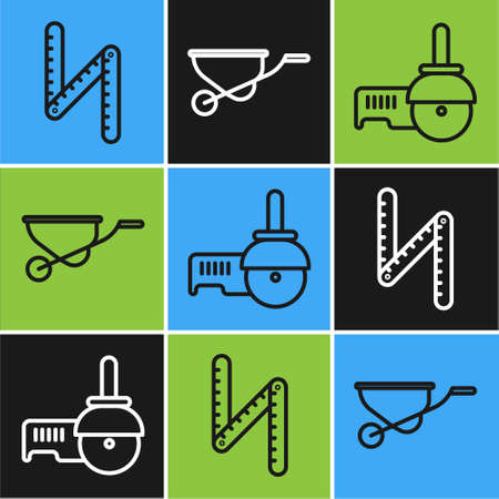 Set line Folding ruler, Angle grinder and Wheelbarrow icon. Vector Vektorgrafik