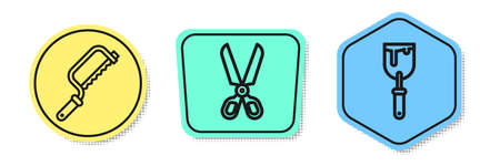 Set line Hacksaw, Scissors and Putty knife. Colored shapes. Vector Vector Illustration