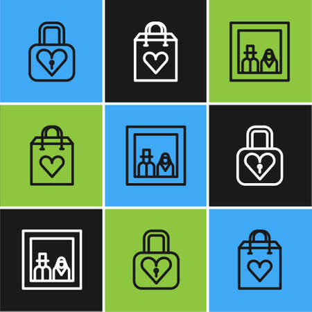 Set line Lock and heart, Family photo and Shopping bag with icon. Vector Illusztráció