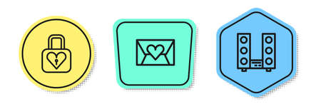 Set line Lock and heart, Envelope with Valentine and Home stereo two speakers. Colored shapes. Vector Illusztráció