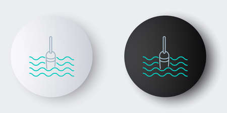 Line Fishing float in water icon isolated on grey background. Fishing tackle. Colorful outline concept. Vector Иллюстрация