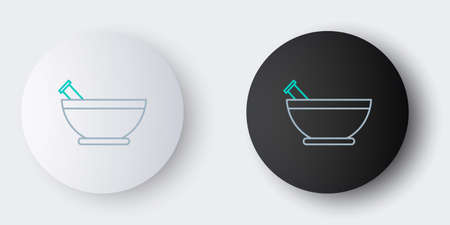 Line Mortar and pestle icon isolated on grey background. Colorful outline concept. Vector Иллюстрация