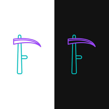 Line Scythe icon isolated on white and black background. Happy Halloween party. Colorful outline concept. Vector Иллюстрация