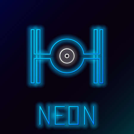 Glowing neon line Cosmic ship icon isolated on black background. Colorful outline concept. Vector Illusztráció