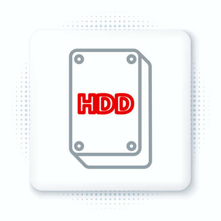 Line Hard disk drive HDD icon isolated on white background. Colorful outline concept. Vector Иллюстрация