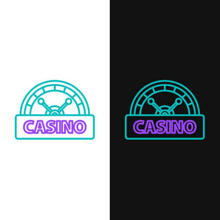 Line Casino signboard icon isolated on white and black background. Colorful outline concept. Vector Ilustrace