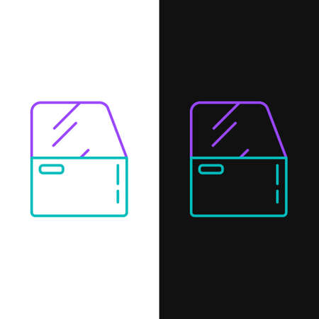 Line Car door icon isolated on white and black background. Colorful outline concept. Vector