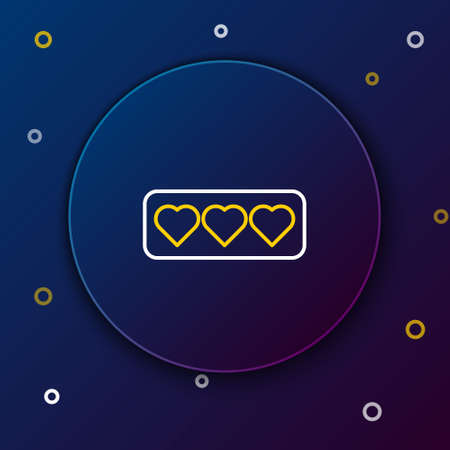 Line Like and heart icon isolated on blue background. Counter Notification Icon. Follower Insta. Colorful outline concept. Vector