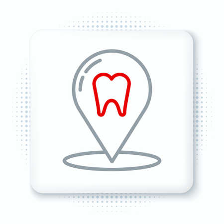 Line Dental clinic location icon isolated on white background. Colorful outline concept. Vector