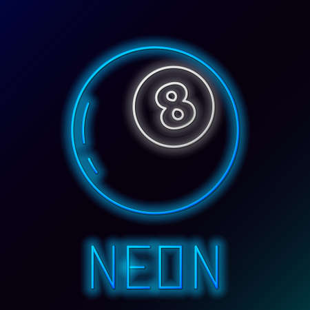 Glowing neon line Magic ball of predictions for decision-making icon isolated on black background. Crystal ball. Colorful outline concept. Vector Vecteurs