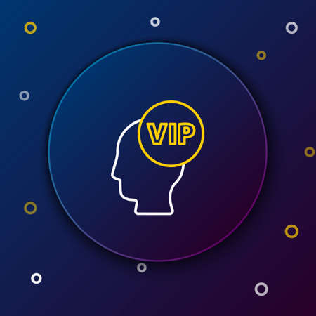 Line Vip inside human head icon isolated on blue background. Colorful outline concept. Vector Иллюстрация