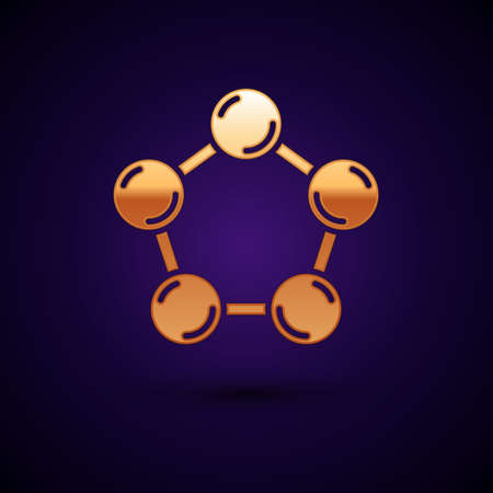 Gold Molecule icon isolated on black background. Structure of molecules in chemistry, science teachers innovative educational poster. Vector