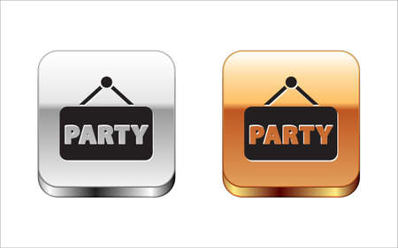 Black Signboard party icon isolated on white background. Silver-gold square button. Vector