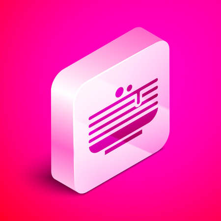 Isometric Stack of pancakes icon isolated on pink background. Baking with syrup and cherry. Breakfast concept. Silver square button. Vector