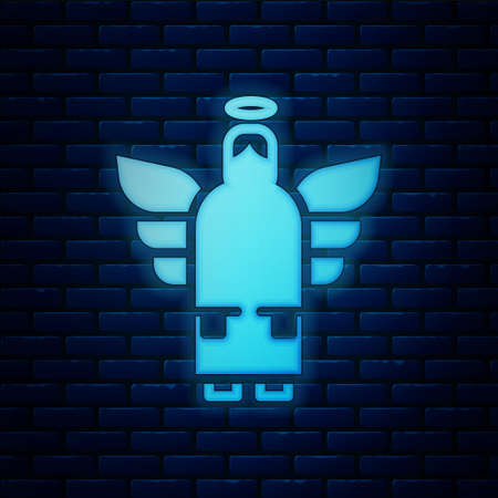 Glowing neon Christmas angel icon isolated on brick wall background. Vector