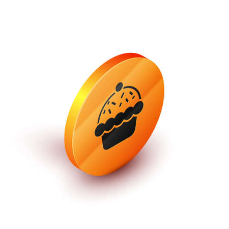 Isometric Cupcake icon isolated on white background. Orange circle button. Vector