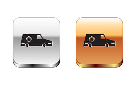 Black Hearse car icon isolated on white background. Silver-gold square button. Vector Иллюстрация