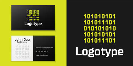 line Binary code icon isolated on black background.   design template element. Vector Illustration