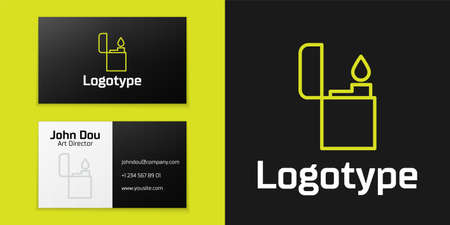 line Lighter icon isolated on black background.   design template element. Vector Illustration Illusztráció