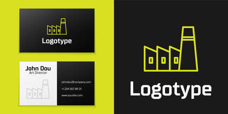 line Oil and gas industrial factory building icon isolated on black background.   design template element. Vector Illustration Иллюстрация