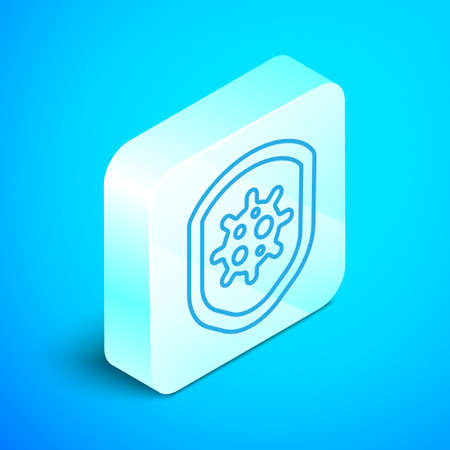 Isometric line Shield protecting from virus, germs and bacteria icon isolated on blue background. Immune system concept. Corona virus 2019-nCoV. Silver square button. Vector