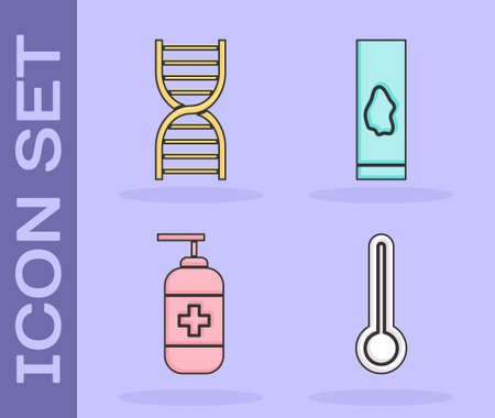 Set Medical thermometer, DNA symbol, Bottle of liquid antibacterial soap and Blood test and virus icon. Vector Иллюстрация
