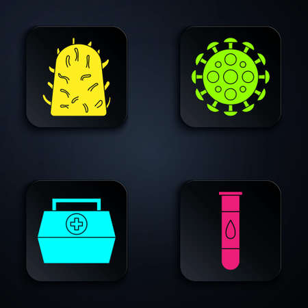 Set Blood test and virus, Rabies virus, First aid kit and Virus. Black square button. Vector