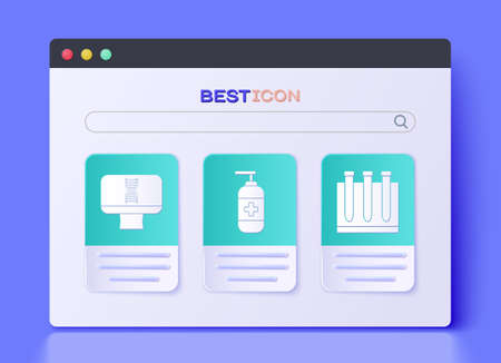 Set Bottle of liquid antibacterial soap, DNA spiral and computer and Blood test and virus icon. Vector Иллюстрация