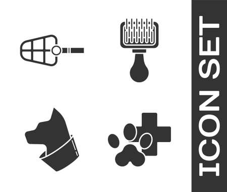 Set Veterinary clinic symbol, Dog muzzle, Cat and Hair brush for dog and cat icon. Vector