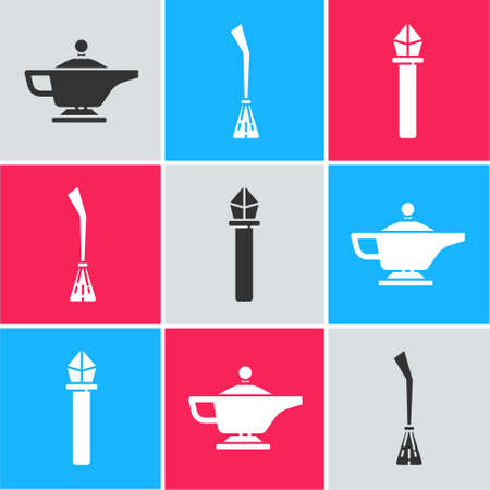Set Magic lamp or Aladdin, Witches broom and Magic staff icon. Vector