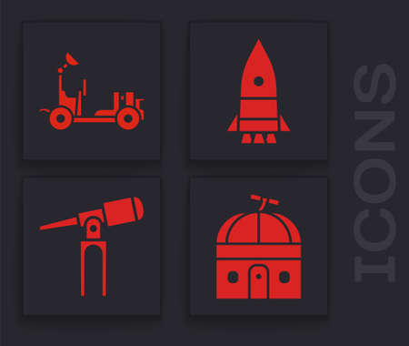 Set Astronomical observatory, Rocket ship and Telescope icon. Vector
