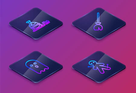 Set Isometric line Witch cauldron and magic stone, Ghost, Witches broom and Voodoo doll. Blue square button. Vector