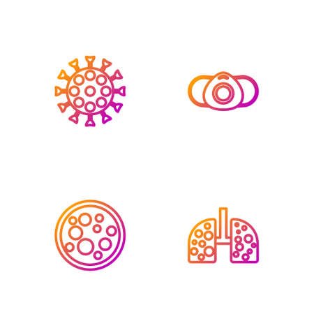 Set line Virus cells in lung, , and Medical protective mask. Gradient color icons. Vector