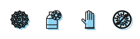 Set line Medical rubber gloves, Virus, Bottle with virus and Stop icon. Vector