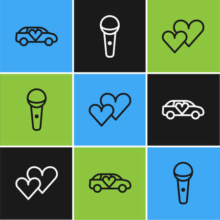 Set line Limousine car, Heart and Microphone icon. Vector