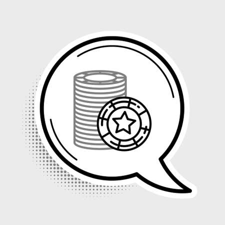 Line Casino chips icon isolated on grey background. Casino gambling. Colorful outline concept. Vector Ilustrace