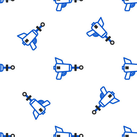 Line Ray gun icon isolated seamless pattern on white background. Laser weapon. Space blaster. Colorful outline concept. Vector Illusztráció