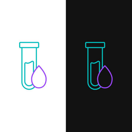 Line Oil petrol test tube icon isolated on white and black background. Colorful outline concept. Vector