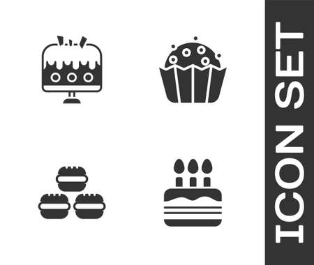 Set Cake with burning candles, on plate, Macaron cookie and Cupcake icon. Vector 矢量图像