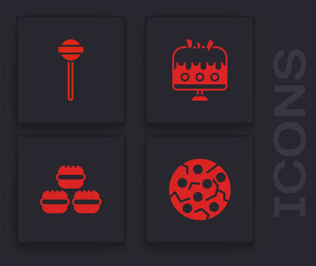 Set Cookie or biscuit, Lollipop, Cake on plate and Macaron cookie icon. Vector