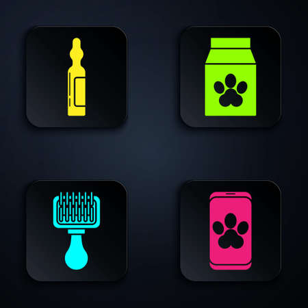 Set Online veterinary clinic symbol, Pets vial medical, Hair brush for dog and cat and Bag of food for pet. Black square button. Vector