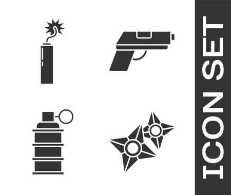 Set Japanese ninja shuriken, Dynamite bomb stick clock, Hand grenade and Pistol or gun icon. Vector Vettoriali