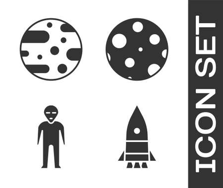 Set Rocket ship, Planet Mars, Alien and Moon icon. Vector