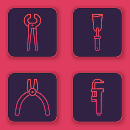 Set line Pincers and pliers, Pliers tool, Putty knife and Calliper or caliper and scale. Blue square button. Vector