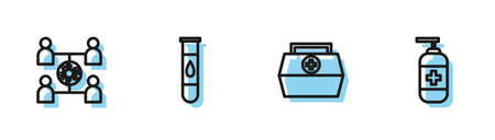 Set line First aid kit, Virus spread, Blood test and virus and Bottle of liquid antibacterial soap icon. Vector
