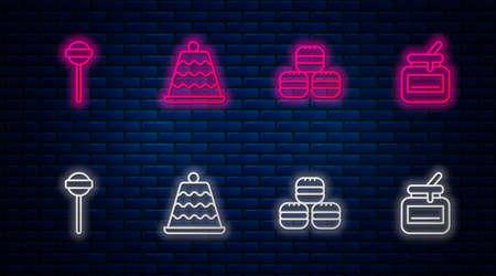 Set line Cake, Macaron cookie, Lollipop and Jar of honey. Glowing neon icon on brick wall. Vector