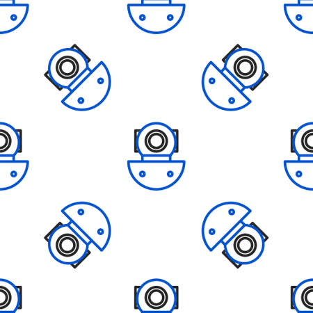 Line Aqualung icon isolated seamless pattern on white background. Diving helmet. Diving underwater equipment. Colorful outline concept. Vector Vectores