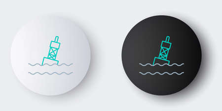Line Floating buoy on the sea icon isolated on grey background. Colorful outline concept. Vector