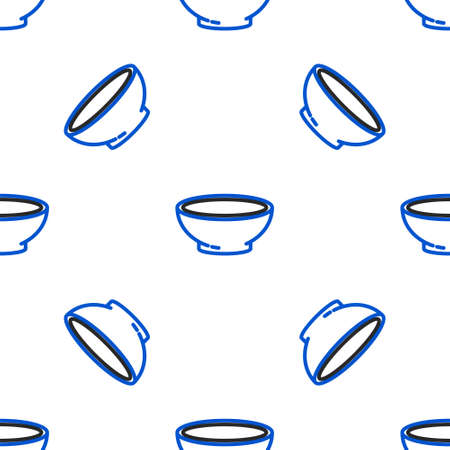 Line Bowl of hot soup icon isolated seamless pattern on white background. Colorful outline concept. Vector