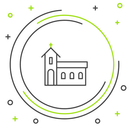 Line Church building icon isolated on white background. Christian Church. Religion of church. Colorful outline concept. Vector